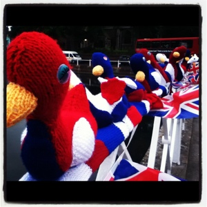 Carshalton Ponds knitted Jubilee ducks